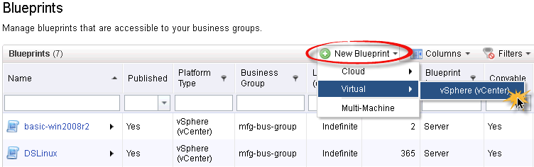 Chapter 4: Cloud Services Create local blueprint To create a local blueprint in the vcac console: 1. Log in as a fabric or business group manager. 2. Select Infrastructure > Blueprints. 3.