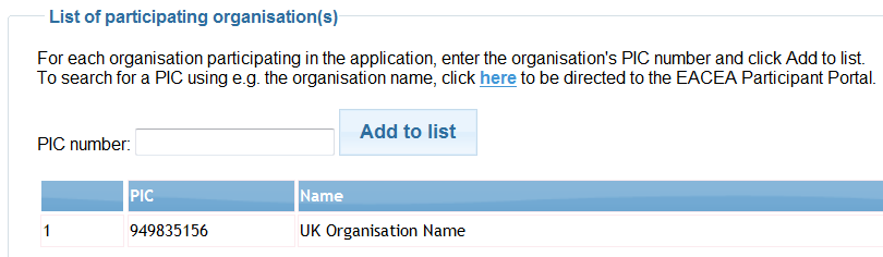 STEP 3: SELECT THE PARTICIPATING ORGANISATIONS In Step 1, you obtained the PIC numbers of the organisations participating in your application.