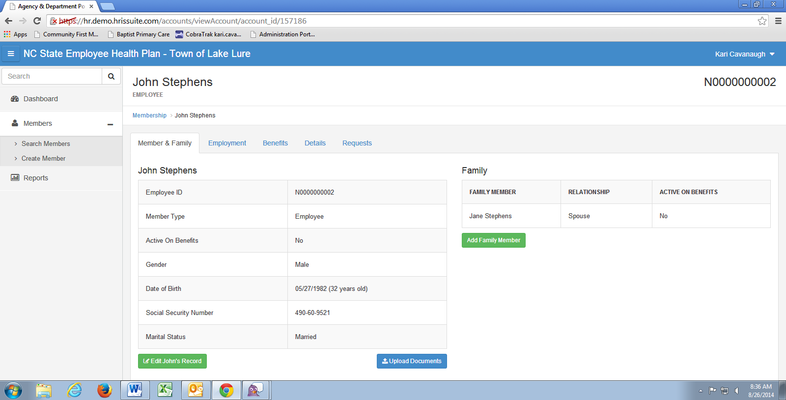 Main screen showing employee info. The HBR may upload supporting documentation on this screen.