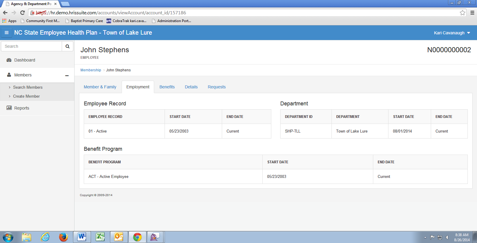 The Employment tab shows the selected employee s employment