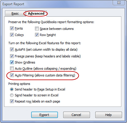 Exporting the Audit Trail Report to Excel with AutoFilters enabled