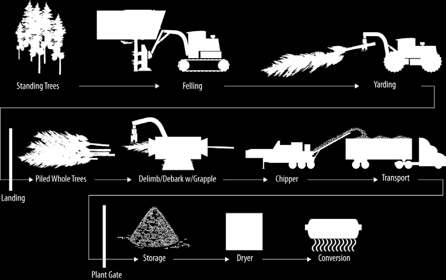 accomplished in the absence of pneumatics. Chips are ejected from the chipper directly into a flat floor chip trailer, and once the truck reaches capacity the material is taken to the biorefinery.