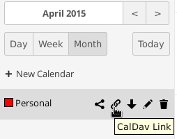 Figure 5.12: Calendar app settings Getting the CalDAV link The GUI of owncloud provides you the needed links which can be used in your CalDAV-compatible program.