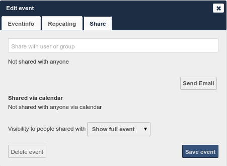 Figure 5.16: Event Share tab Share visibility pulldown menu Enables you to specify the level of information that is shared.