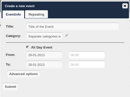 http://address/remote.php/caldav To use the owncloud calendar with Apple ical you will need to use the following URL, including the trailing slash: http://address/remote.