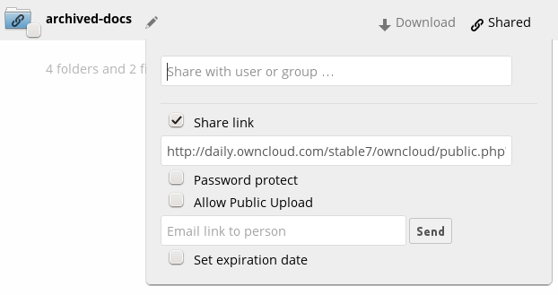 the steps below using public link shares. oc8 also supports creating the share using the Share with user or group form field.