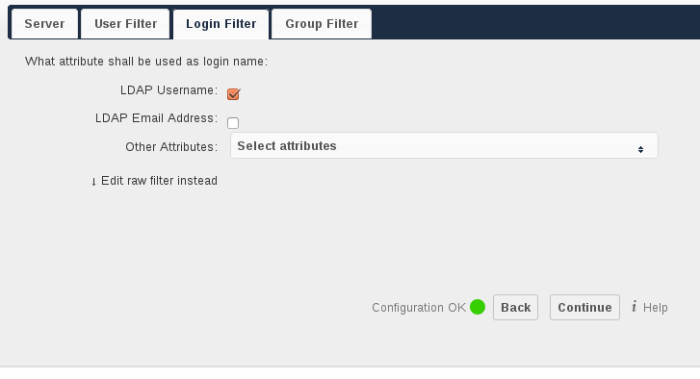 LDAP Username: If this value is checked, the login value will be compared to the username in the LDAP directory.