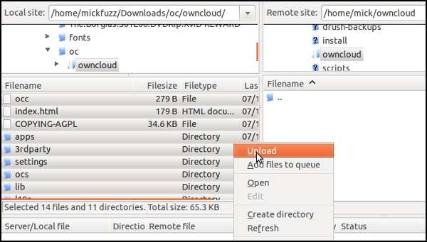 Connect to the server with your server login details and copy all the unzipped files to the directory on your server you are going to use as the home for your owncloud directory.