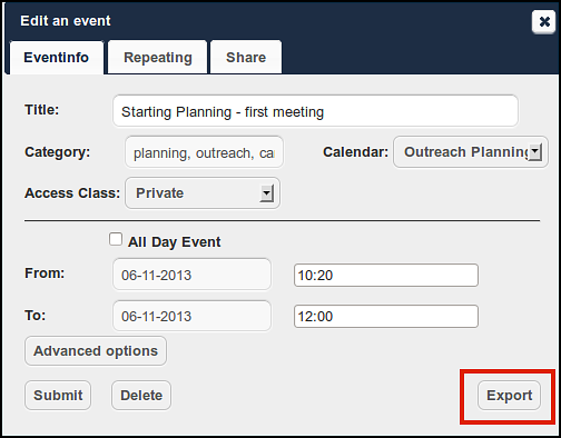We can see that if we allow the user to edit our calendar there are different options available for us to control their level of access and set an expiry date too.
