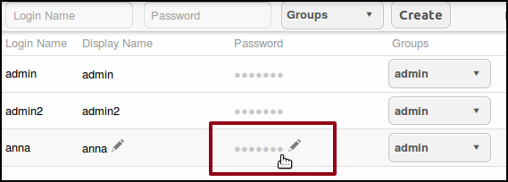 CHANGING PASSWORDS AND GROUPS In the Users window, any user in the admin group can change their own password and that of other