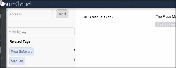 You can also include a description. Click Save, and the window will close. Your bookmark, and any new tags you used, will appear in your owncloud instance (you may have to refresh the page).