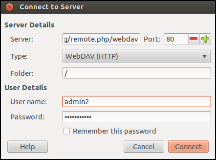 You can also choose Secure WebDAV if your server has that option (via using SSL / https).