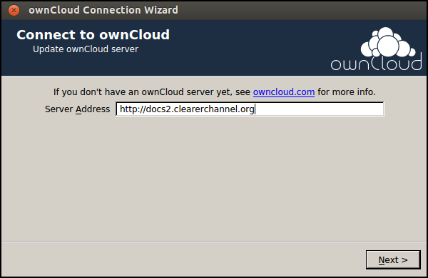 If the wizard doesn't start automatically after install you can either restart your computer to trigger it or type the command 'owncloud' from your