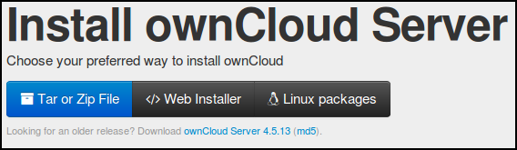 16. INSTALLING OWNCLOUD SERVER At the time of writing this manual, version 5.0.13 is the stable version of owncloud server. owncloud can be installed on either Linux or Windows servers.