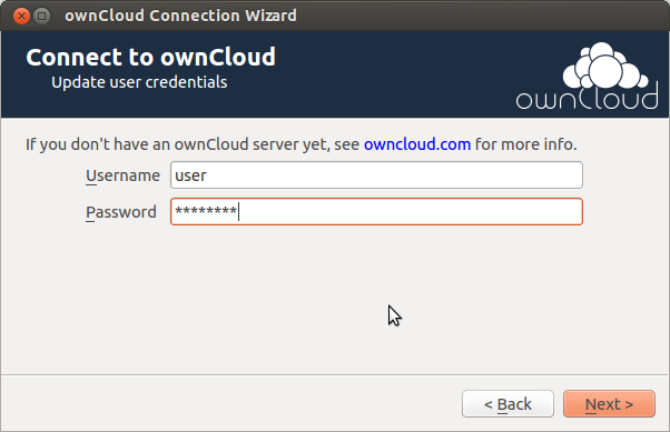 CHAPTER TWO SETTING UP AN ACCOUNT If no account has been configured, owncloud Client will automatically assist you in connecting to your owncloud Server after the application has been started.