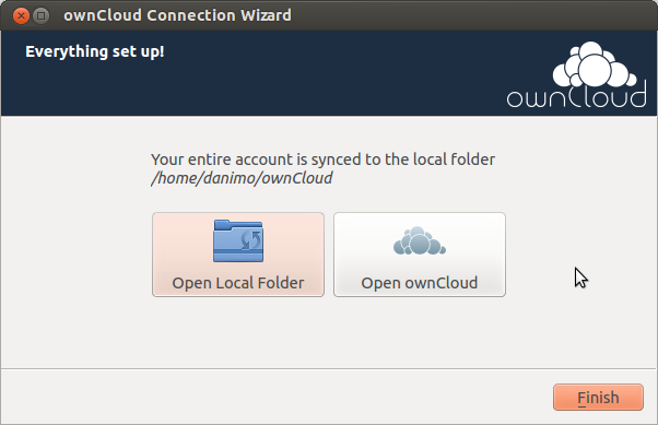 Finally, choose the folder that owncloud Client is supposed to sync the contents of your owncloud account with.