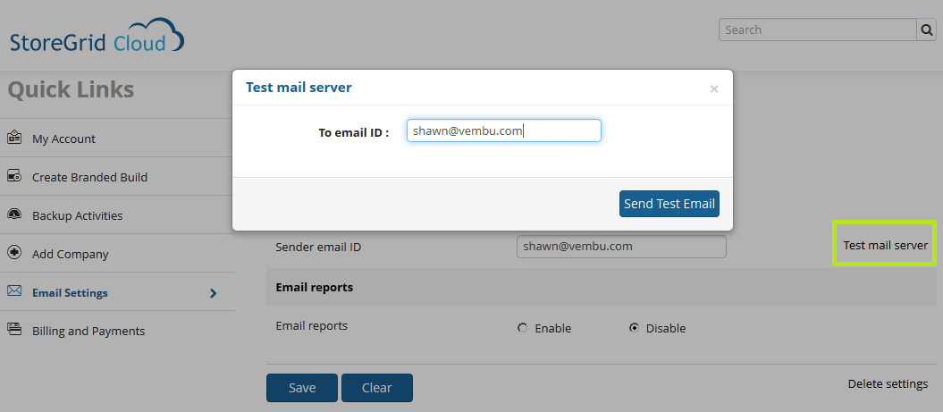 2. To make sure the email settings that you entered is right, select the link Test Mail Server in the email