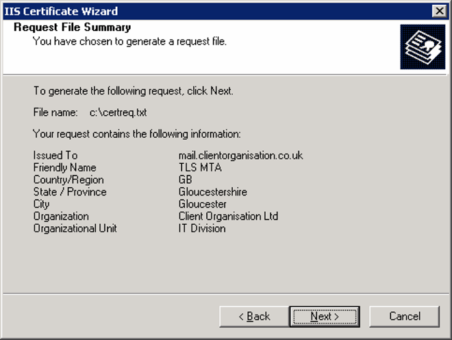 Microsoft Exchange Server 2003 Getting a certificate signed 14 13 Review the information on the Request File Summary page, and then click Next.