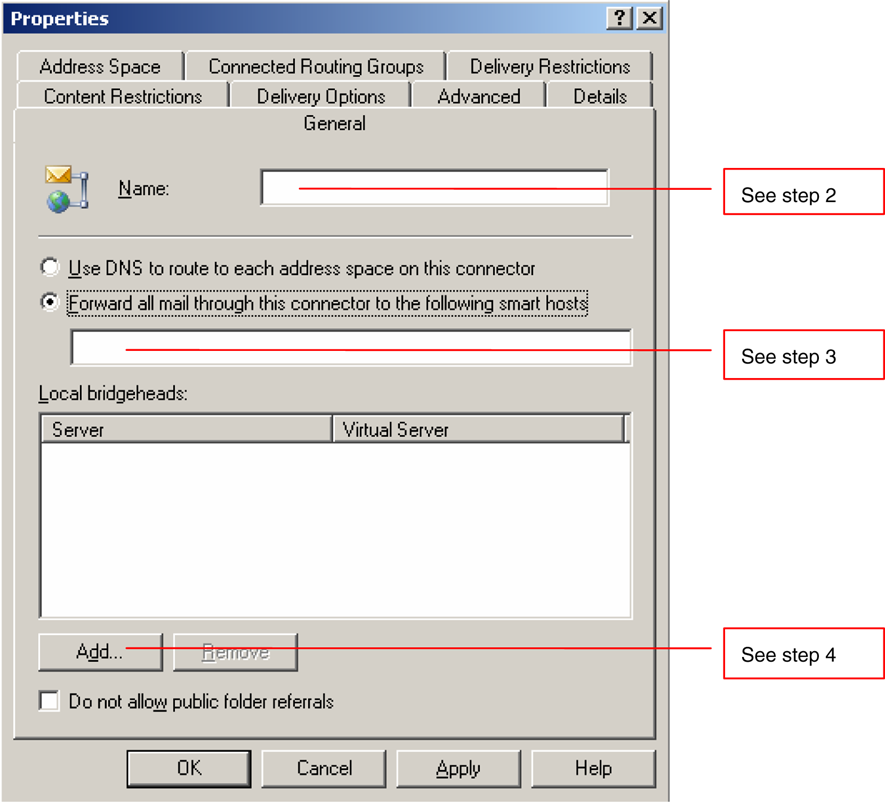 Microsoft Exchange Server 2003 Configuring Exchange for outbound TLS Mail 23 To create a new connector 1 In the left pane of Exchange System Manager, navigate to Administrative Groups.