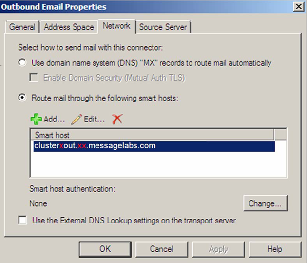 Microsoft Exchange Server 2007 and 2010 Configuring Exchange for outbound TLS mail 37 5 Click Apply. 6 Highlight the required smarthost in the list. 7 Click OK.