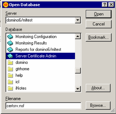 Domino 6.5 Generating a certificate request 44 To generate a certificate request 1 Start the Domino Administrator application and log on. 2 Choose File > Database > Open.
