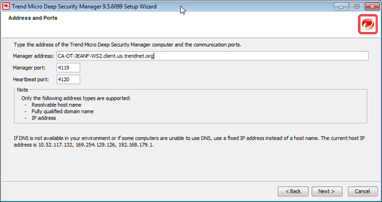 Installing the Deep Security Manager 4. Database: Select the database you installed previously.