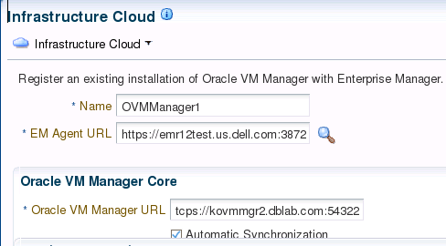 Cloud Architecture Design and configuration Register VM Manager on Oracle Enterprise Manager 12c. Configure Secure TCP(TCPS) on VM Manager host (#1490283.