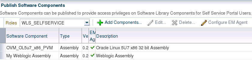 Deploy assemblies in EM12c Self Service Portal Define software Components: publish Assembly to Self Service user Click Software Component of the Self service portal page Publish Assemblies/templates