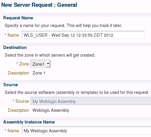 Deploy assemblies in EM12c Self Service Portal Check the assemblies the user can use for