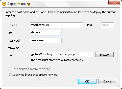 Compile to MapForce Server Execution File saves a local file for MapForce Server running in a standalone configuration executed from a command line.