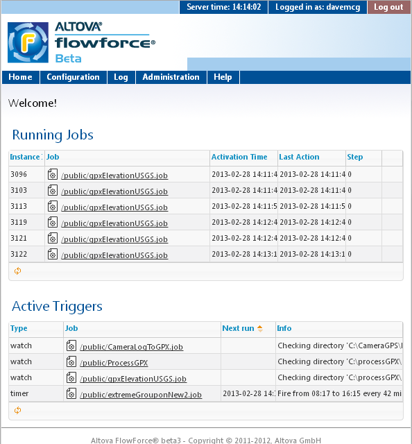 The screen shot above shows the Home page of the FlowForce Server Web browser interface, displaying all currently running jobs and active triggers.