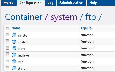 FTP Functions The FTP container has functions that correspond to commands defined in the File Transfer Protocol (FTP).