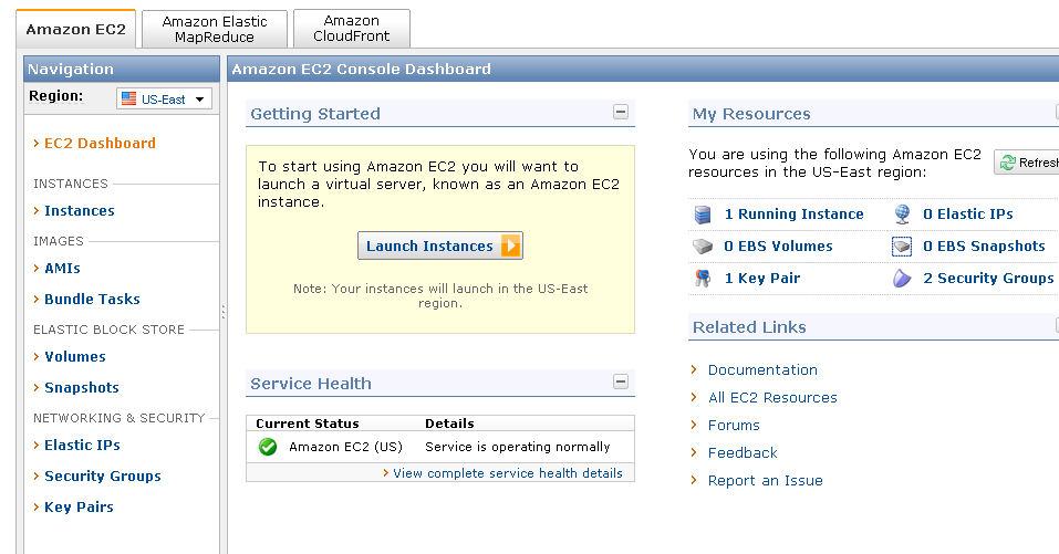 Amazon EC2 Management Console 12 Source: iphp, Get your own cloud server running in 15