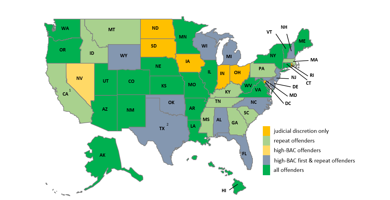 State Law Comparison: Laws Mandating Alcohol Ignition Interlock Orders, March 2014 1 California s pilot program requires interlocks for all DUI offenders in Alameda, Los Angeles, Sacramento, and