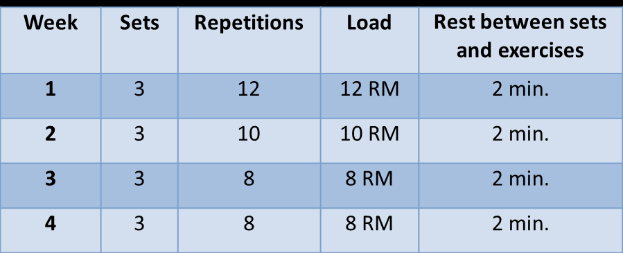 adjusted so that the prescribed number of repetitions in each set led to failure. If more repetitions than prescribed could be made, the load was to be increased. The session ended with 3 x 30 sec.