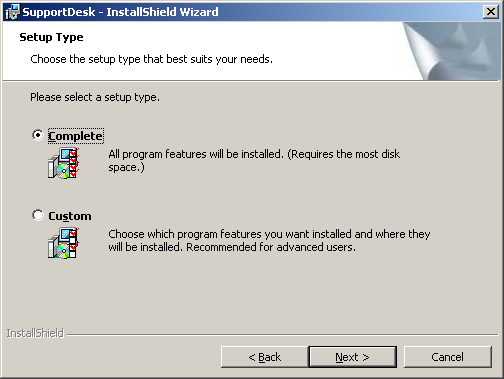 7. After the appropriate Database Installation option has been chosen, the Setup Type screen will be displayed.
