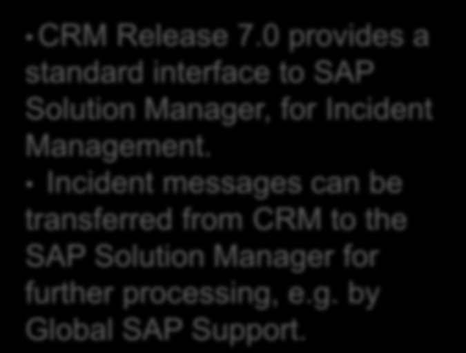 SAP CRM IT Service Management An integrated solution with SAP Solution Manager Incident Management Problem Management Change Management Billing and Cost Allocation Application Incident Management