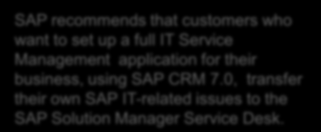 Application Incident Management - Extension Customer Using SAP & Non-SAP SAP recommends that customers who want to set up a full IT Service Management application for their business, using SAP CRM 7.