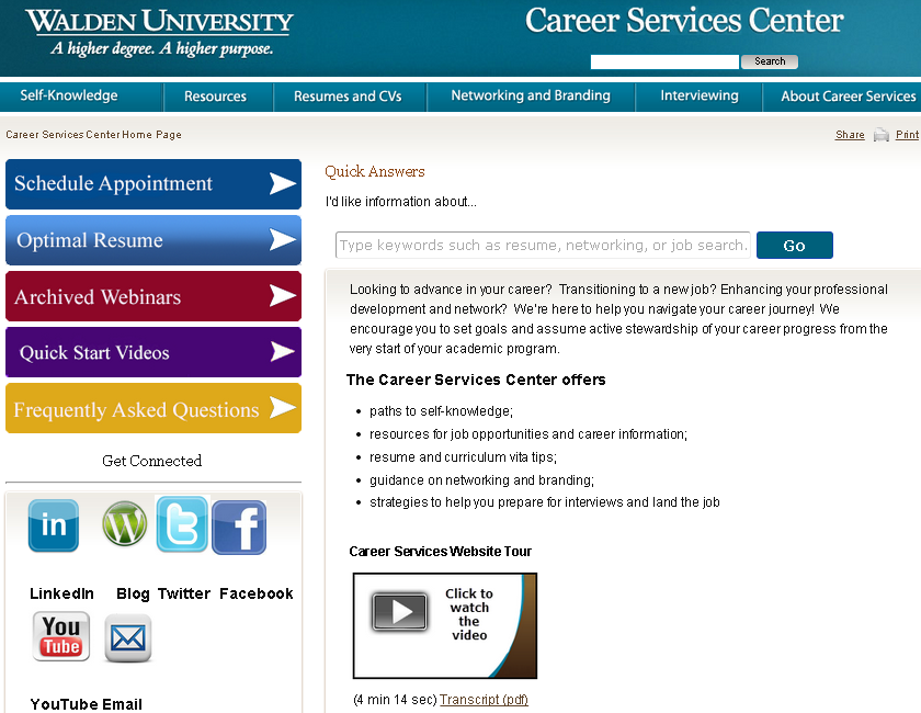 Career Services Center http://careercenter.
