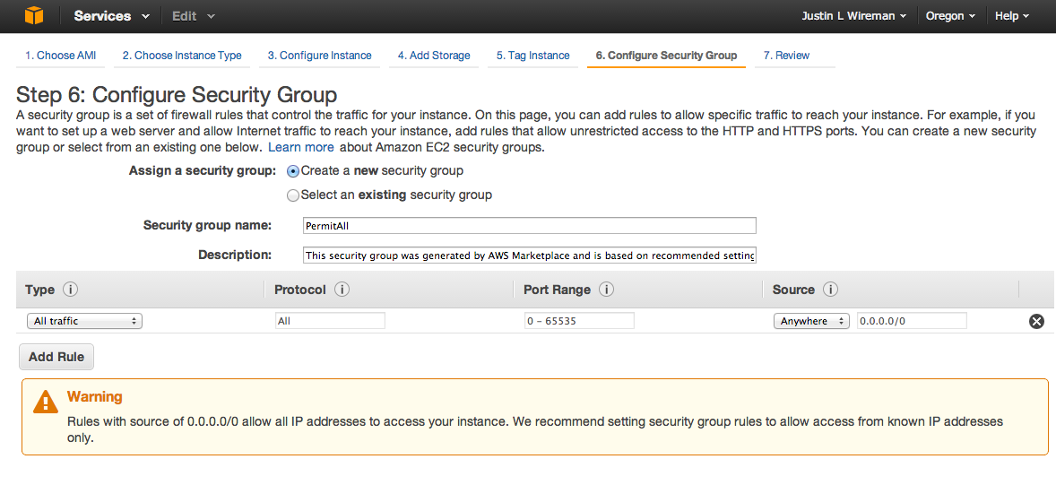 Step 3.6 Security groups Amazon by default has your VPC behind a basic firewall.