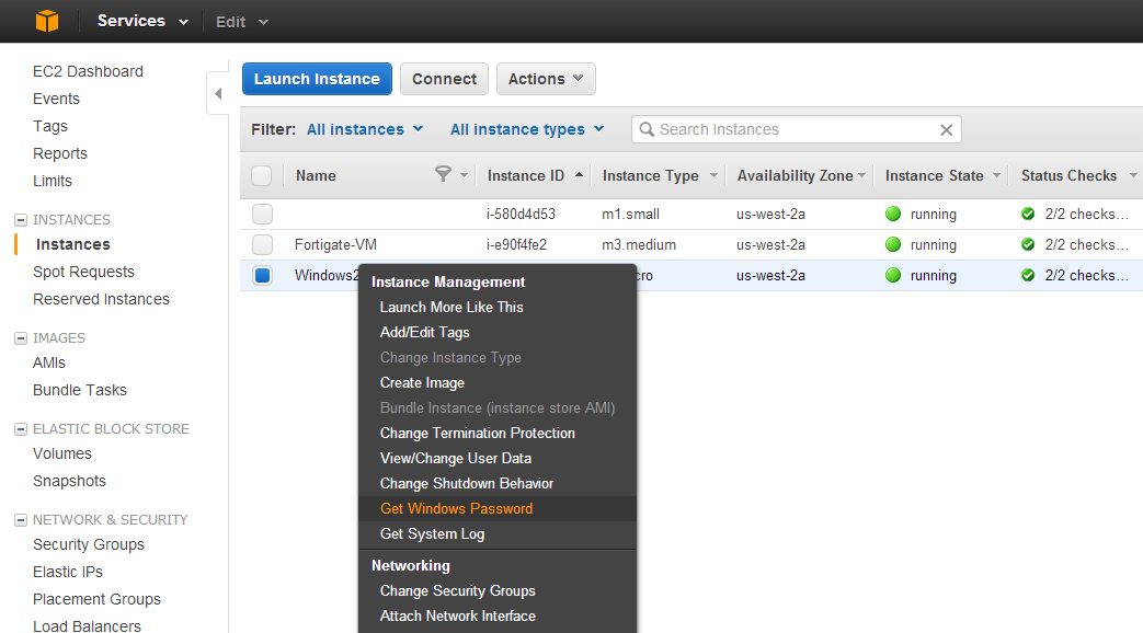 2 Retrieve your VM s password On the EC2 Dashboard, Right