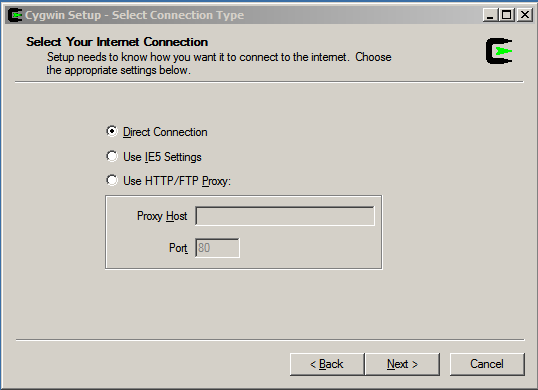e) Select Install from Internet and select Next f) Keep the default Root Directory (C:\cygwin) and Install For All Users, by selecting Next g) Keep the default Local Package Directory by selecting