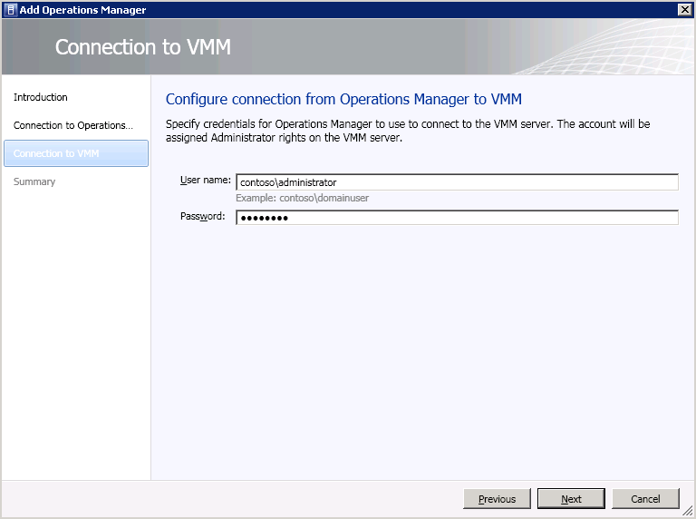 Server name: OpsMgr Use the VMM server service account: checked Enable Performance and Resource Optimization (PRO): checked Enable maintenance mode integration with Operations Manager: checked