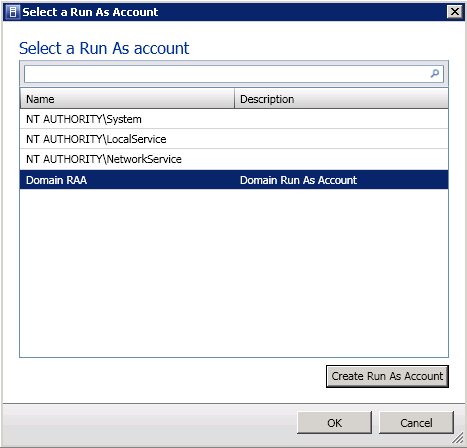 7. On the Select a Run As Account page again, you can now select the