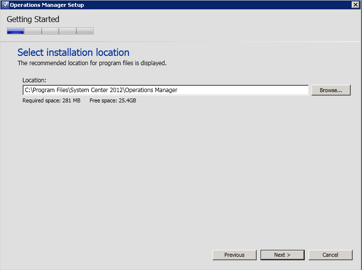 3. On the Select Installation Location page, choose the installation location by pressing browse or leave it at the default and select Next 4.