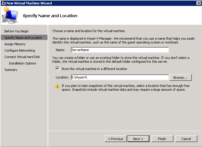 2. In the Actions pane, select New > Virtual Machine 3. In the Before You Begin screen, select Next 4.