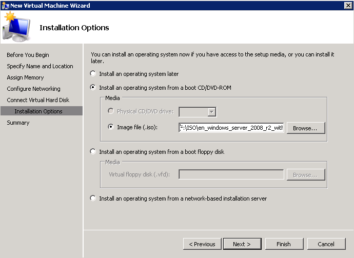 8. In the Installation Options screen, select how you want to install the Operations System.