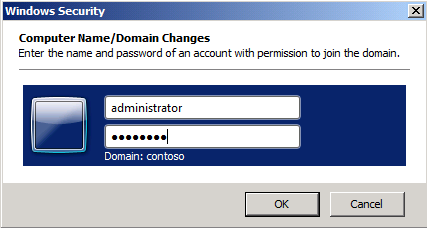 8. Fill in the Computer name and Domain and select OK 9.