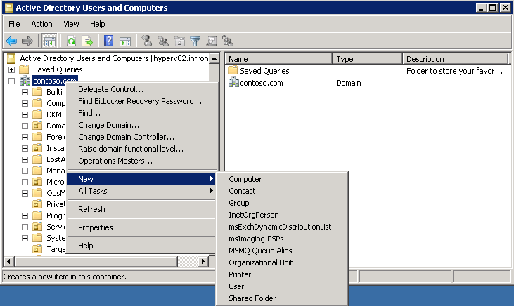 1. Open Active Directory Users and Computers 2. Create an OU by right-clicking on Contoso.