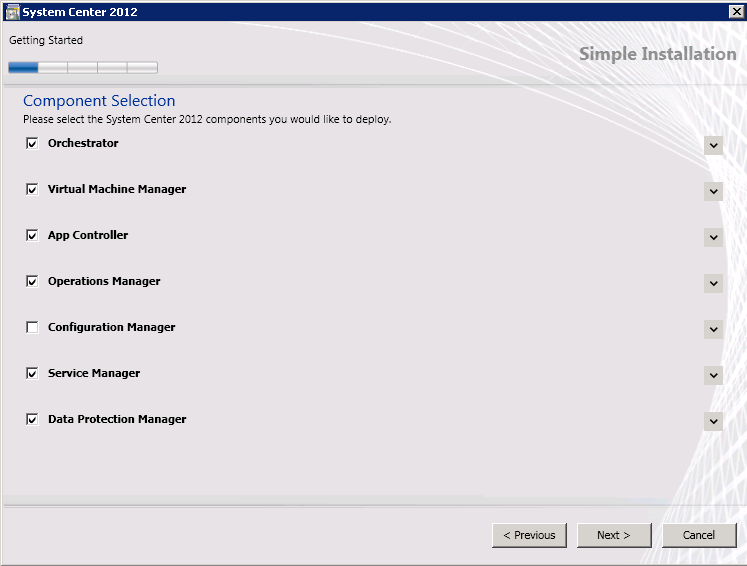 7. On the Component Selection page, select the System Center 2012 components to install.
